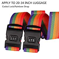 Luggage Straps, Adjustable Suitcase Security Belts with Password Lock Clip, 2 Pack Travel Bag Tags Accessories (rainbow)