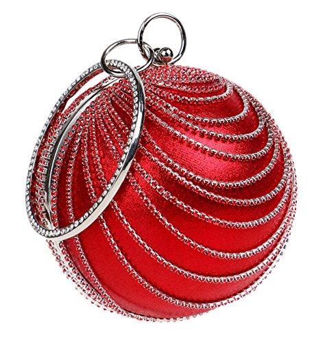 Santimon Clutches Für Damen Strass Runde Kugel Partei Abend Abschlussball Griff Tasche (Geldbeutel Kette Kugel)