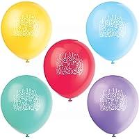 Unique Party - 5111 - Paquet de 10 Ballons Gonflables - Happy Birthday - Latex - 30 cm - Coloris Aléatoire
