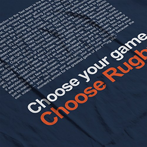 Trainspotting Choose Rugby Men's Hooded Sweatshirt Navy blue