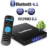 Android 8.1 TV Box 4 GB RAM/64 GB ROM - Leelbox Smart TV Box Q4 MAX, Quad Core 64 Bit Android Box Wi-Fi integrato/BT 4.1/ Box TV UHD 4K TV/USB 3.0 Media Player, Android Set-top-Box