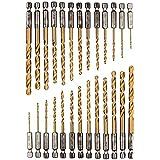 26 teiliges Titan Bohrerset, Sechskantschaft Schnellbohrkronen, 1,5-6,5 mm Schnellarbeitsstahl, Titan-beschichteter HSS Bohre