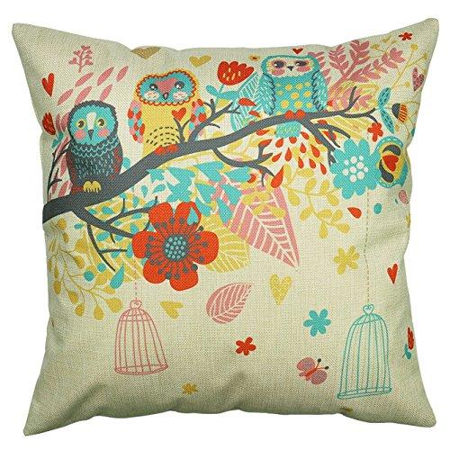 (Luxbon Frühling Eulen im Baum Muster Dauerhaft Leinen Kissenbezug mit Reißverschluss Sofa Büro Dekokissen 45x45 cm)