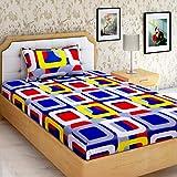 "AEROHAVEN™ Cotton Comfort 160 TC Cotton Single Bedsheet(60"" X 90"") With 1 Pillow Cover(16"" X 26"") (Multi)"