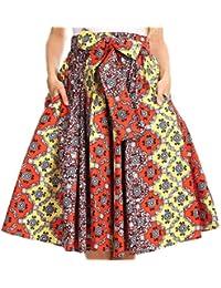 Sakkas Celine African Dutch Ankara Wax Print Full Circle Skirt