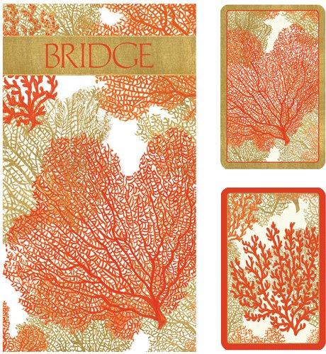 Caspari Sea Fans Bridge Set inkl. 2Decks Spielkarten/4SCORE Pads/4Bleistifte, Holz, Orange, 7,8x 20.35X 0,55cm (Bleistift Moore)