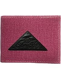 Silver Kartz Men's Brighty Pink Fabricated Genuine Leather Wallet (taj-017)