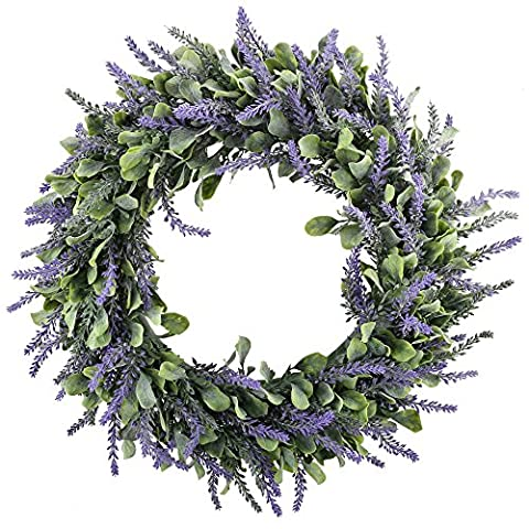 MIHOUNION Artificial Lavender Flower Spring Door Wreath with Fake Foliage Leaves Hanging Plastic Flower Garland for Wedding Outdoor Garden Indoor Home Kitchen Wall Decorations
