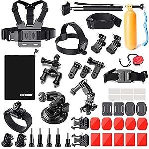Zookki 39in 1kit di accessori per GoPro Hero 543+ 321nero argento SJ4000SJ5000SJ6000, macchina fotografica di sport set di accessori per videocamera Xiaomi Yi/Lightdow/Wimius/Dbpower