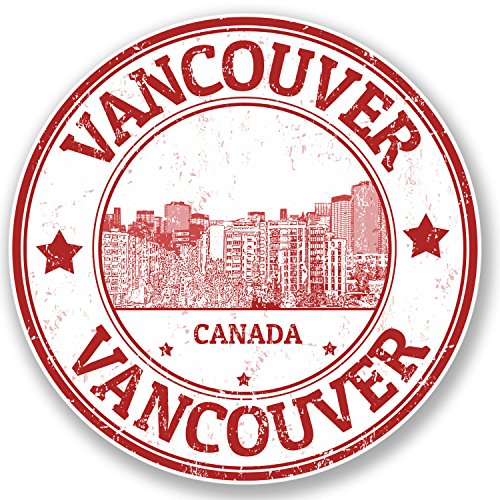 Price comparison product image 2 x Vancouver Canada Vinyl Sticker Travel Luggage iPad Laptop Flag Map Fun 4321 (10cm x 10cm)