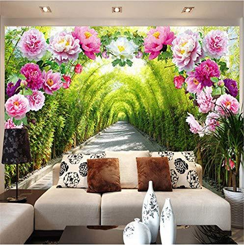 Wemall 3d wandbild tapete wohnzimmer schlafzimmer sofa hintergrund garten blumen blume tür galerie erweitern raum tapete, 400x280 cm (157,5 x 110,2 in) -