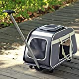 Petsfit Pet Carrier Trolley with Telescopic Handle, Portable Large Dog/Cat Carrier Travel Tote Bag with Wheels, Light Grey Color, 66cm x 37cm x 36cm