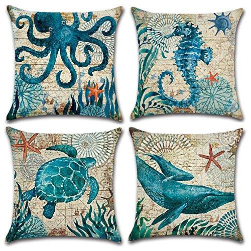 Gspirit 4 Pack Oceano Tema Acuario Algodón Lino Throw Pillow Case Funda de Almohada para Cojín 45x45...
