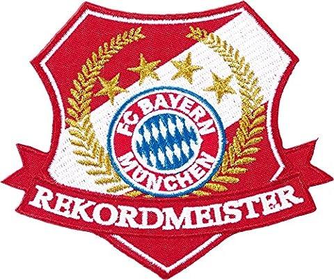 Aufnäher FC Bayern München Rekordmeister - 7 x 10 cm + gratis Aufkleber, Flaggenfritze®