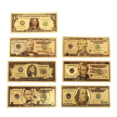 Leaftree 24 Karat Gold überzogene Dollar 1 2 5 10 20 50 100 Dollar Realistische hochwertige Gedenknoten Banknoten Münze Andenken Gold - 20-dollar-münze