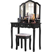 EPHEX Schminktisch mit 3 Spiegeln und 5 Schubladen und einem Hocker, Make-up Tisch Luxuriös Schminktisch mit…