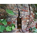 Upcycling- Hängelampe aus einer Weinflasche (olivgrün) inklusive Teelicht