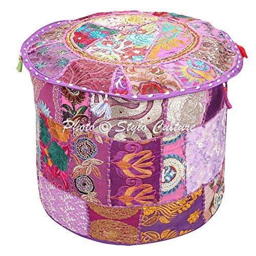 Stylo Culture Ottoman Pouffe Schemel Abdeckung Bank Große lila Indische Bestickt Patchwork Baumwolle Traditionelle Runde Stoff Hocker Ottomane Abdeckung (22x22x13 Zoll) 55 cm