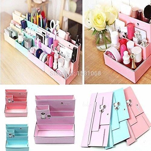 DESIGNEEZ DIY Paper Board Storage Box Desk Decor Stationery Makeup Cosmetic Organizer...