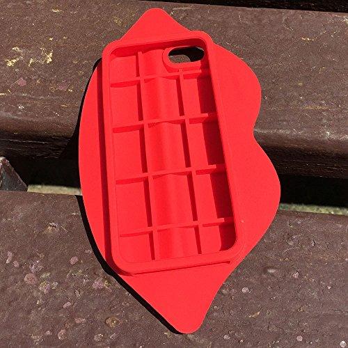 iPhone 4 Custodia, Hamyi iPhone 4S Cover Morbida Silicone Motivo Moda 3D Sexy Lips Labbra Protettiva Case per Apple iPhone 4/4S(Verde) Rosso