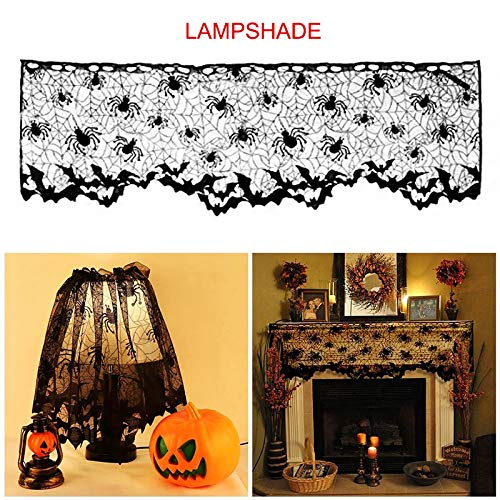 Halloween Dekoration Lampenschirm Kamin Schal Spider Web Black Lace Cover Lampenschirm