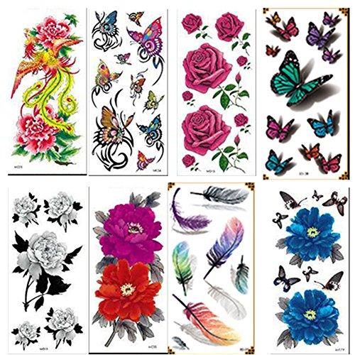 Deanyi Temporäre Tattoos, Unisex, temporäre Tattoos, personalisierbar, wasserfest, künstliche Tattoos, Hand-Tattoos, Frisch, Gesicht (A) x 1 Stück