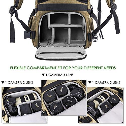 Zecti Mochila profesional antigolpes para cámara DSLR Canon-Nikon-Sony  Mochila fotografia con protector fd294cc1f04