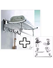Fortune Stainless Steel 24 Inch Folding Towel Rack for Bathroom | Towel Stand | Hanger with 5 pcs Bathroom Accessories Set (Towel Rod/Napkin Ring/Soap Dish/Tumbler Holder/Robe Hook)