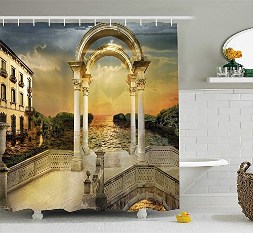 TAMMY CHAPPELL Fantasy Shower Curtain, Surreal Bridge Gateway with Ornaments Enchanted Woods Fairytale Land, Fabric Bathroom Decor Set with Hooks, 75 inches Long, White Light Yellow Green - Enchanted Woods
