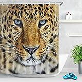 LB Tigre Animal Negro Cortina de baño para baño Accesorio para el hogar 150 Ancho x 180 Altura cm