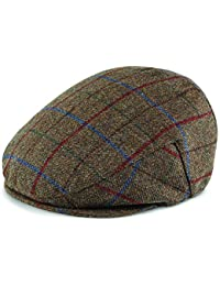 Samuel Windsor Men's 100% Wool Tweed Caps In Traditional Brown and Green Check Designs
