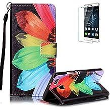 Funyye - Funda de piel de diseño elegante, modelo con flor de loto de colores, soporte a modo de libro, tipo cartera, con película protectora para iPhone 5/5S y iPhone SE Color-17 Huawei P9 Lite