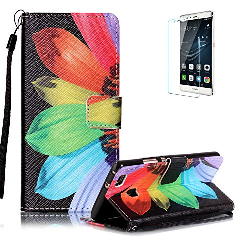 custodia-huawei-p9-lite-in-pellefunyye-girasole-colorato-elegante-libro-portafoglio-cover-e-pellicol