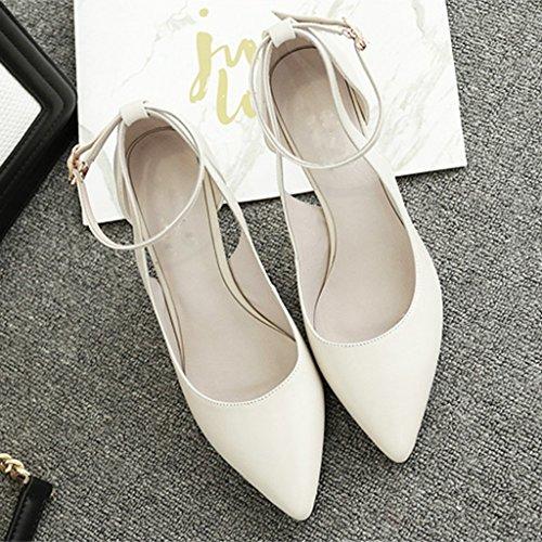 Feine Uniformen (MUMA Pumps Sommer beige weißen koreanischen spitzen High Heels fein mit einzelnen Schuhen Mitte Ferse Schuhe wilden Riemen Hochzeit Schuhe (Farbe : Beige, größe : EU38/UK5.5/CN38))