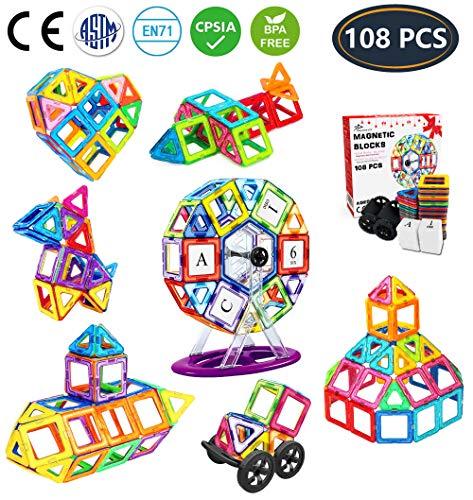 Jasonwell Magnetische Bausteine 108 Teile Magnete Bauklötze Konstruktion Blöcke Bausatz Kreative Spielzeuge Kinder Kleinkind Mädchen Jungen Riesenrad Aufbewahrungstasche Tolles (Für Kleinkinder Bausteine Magnetische)