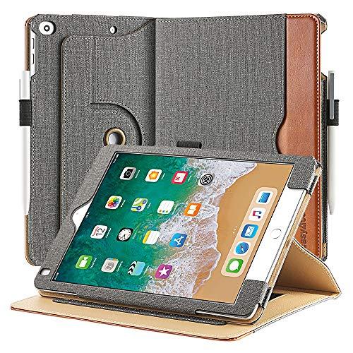 EasyAcc Leder Hülle für iPad 9.7 2018 iPad 6/2017 iPad 5/ iPad Air/Air 2, 360 Grad Drehung mit Stifthalter, Premium PU Leder ohne Plastik, Multi-Winkel Standfunktion und Auto Wake/Sleep Cover, Grau