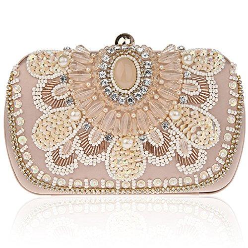 KAXIDY Damen Schultertasche Abendtasche Blumen Sequin Clutches Handtasche (Champagner) -