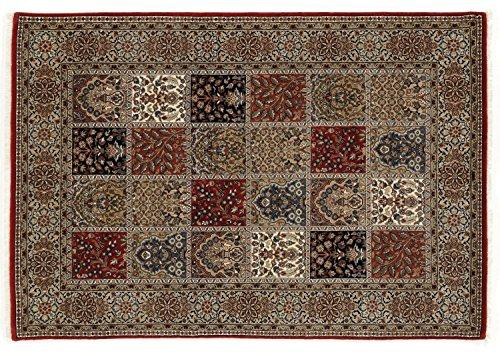 TIWA GHOM echter klassischer Orient Felderteppich handgeknüpft in rot-creme, Größe: 120x180 cm -