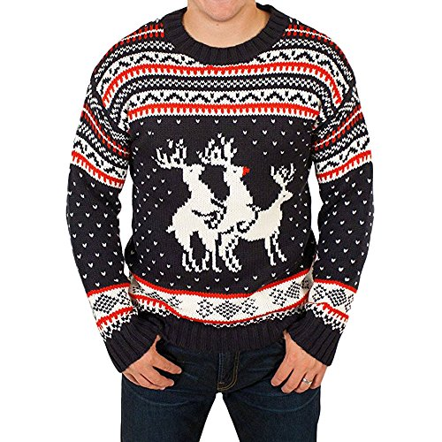 Rockberry Funny Ugly Christmas Sweater Party Humping Reindeer Jumper
