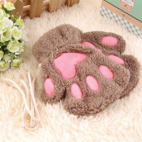 ZHANGYUGEGE Las Mujeres Guantes de Invierno Cute Cute Fluffy Plush Bear Paw Chica Mitad Cubiertos Guantes Kawaii Estilo Sencillo,Ligero café