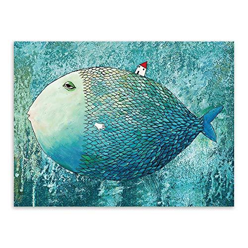 zzlfn3lv Aquarell großer Fisch kleines Haus bilderrahmen malerei Kern Schlafzimmer Wohnzimmer Dekoration malerei großer Fisch kleines Haus malerei Kern 50x70cm