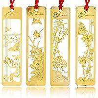 Lot de 4marque-pages chinois en métal Motif creux Doré