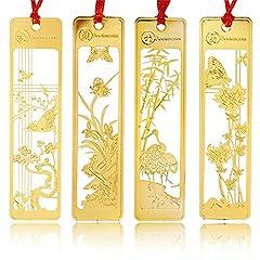 Idea Regalo - Amupper, 4segnalibri cinesiin metallo dorato