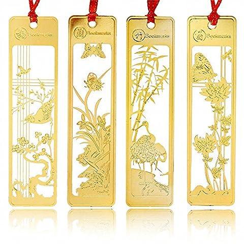 4 Pcs Chinese Metal Bookmark - Amupper Golden Hollow Book