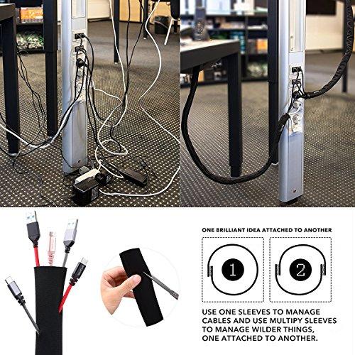 OZUAR 300cm Kabelschlauch Kabelkanal, DIY Kabelhalter Schreibtisch Kabel Organizer Klett Neopren Klettverschluss Kabelhülle für TV/Computer/Home Entertainment (300x13.5cm) - Schwarz