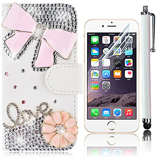 iPhone 7 Plus Handytasche,iPhone 7 Plus Hülle,Sunroyal Elegant Luxus Noble Weiß Lila Rot Schmetterling Bling Diamant Glitzer Rhinestone Muster Entwurf PU Leder Schutz Handyhülle Strass Klapp Flip Book Pattern 19