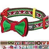 Blueberry Pet 2cm M Weihnachten Rentier Festsaison Hundehalsband mit Fliege, Mittlegroβe Halsbänder für Hunde
