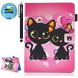 HUDDU Schwarz Katze Muster Rosa Schutzhülle Huawei MediaPad M3 Lite 10 25,6 cm 10,1