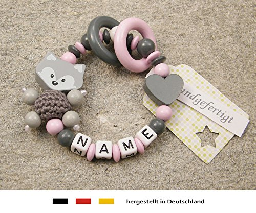 Baby Greifling Beißring geschlossen mit Namen | individuelles Holz Lernspielzeug als Geschenk zur Geburt & Taufe | Mädchen Motiv Fuchs und Herz in grau rosa