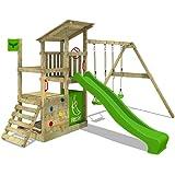 FATMOOSE Parque infantil de madera FruityForest con columpio y tobogán manzana verde, Torre de escalada de exterior con arene